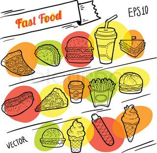 Fast food line illustration dynamic design set of hand for Lean cuisine vs fast food