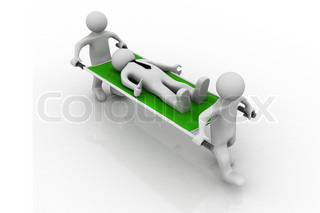 3D Medics Carrying Patient. man first aid, on white background