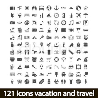 121 icons vacation and travel