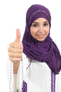 Arabian woman wearing a hijab with thumb up