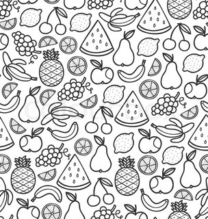 fruits doodle pattern in black - Pattern Pictures To Colour