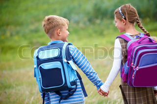 boy with  girl going to school