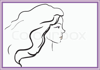 Girl portrait  Vector silhouette icon, monochrome
