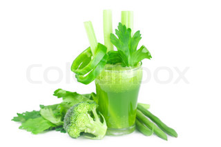 broccoli,pepper,celery and glass with celery juice isolated on white