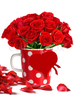 Bouquet of red roses in polka dots mug