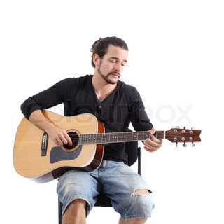 junger mann spielt eine spanische gitarre stock foto colourbox. Black Bedroom Furniture Sets. Home Design Ideas