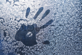 Hand trace on glass