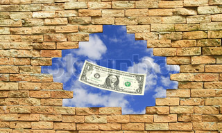 Dollar bill with sky in side brick block wall hole