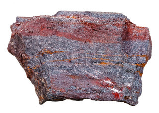 brown iron ore mineral isolated on white background