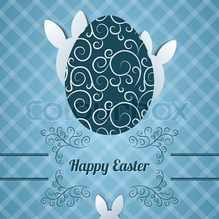 Happy easter word cloud concept with egg silhouette season easter greeting card with egg and abstract rabbit m4hsunfo