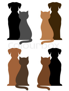 set of dogs and cats silhouettes