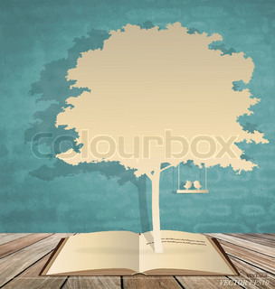 Abstract tree background with book and tree Vector Illustration