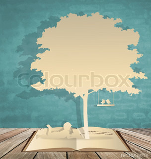 Abstract background with children read a book under tree Vector Illustration