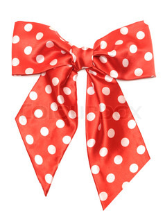 dotted red satin gift bow isolated on white