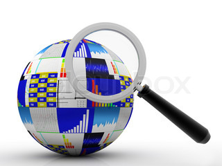 Globe and chart or graph stock market under magnify review illustration design