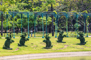 Topiary Elephants in Tropical Park, Bangkok, Thailand