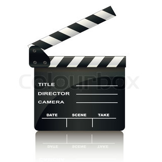 clapper board isolated on white background vector colourbox. Black Bedroom Furniture Sets. Home Design Ideas