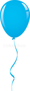 vector blue balloon ribbon