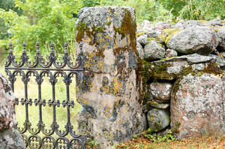 old beautiful cast iron graveyard gate on Hitis island in gulf of Finland
