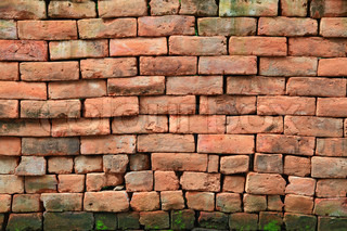 irregular shapes of red stone brick wall background