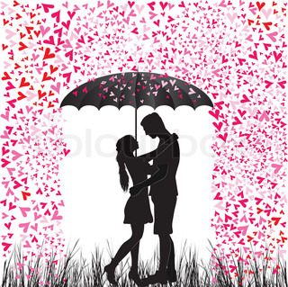 Kissing couple heart rain. Man and woman in love. Valentine day background. Young people under umbrella. Isolated on white.