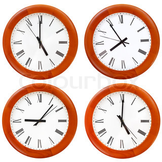 set of wooden round wall clock face