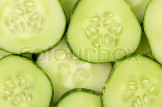 Background of slices cucumber Macro
