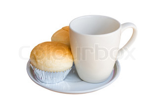 Bread with empty cup of coffee over white background