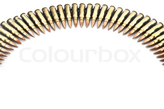 Cartridge 7.62 mm machine gun bullet with link isolated.
