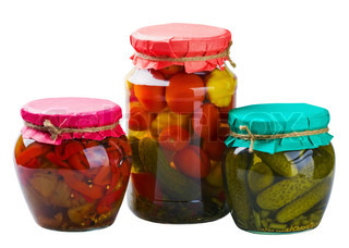 canned fruits and vegetables isolated