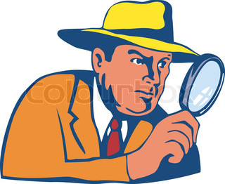 Detective with magnifying glass for cartoon design | Stock Vector ...