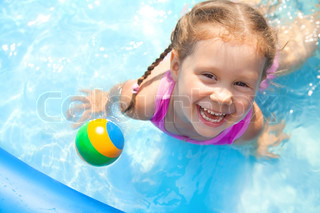 Happy little girlSwimming