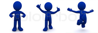 3d character textured withflag of European Union
