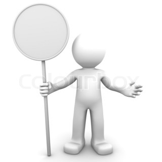3d character holding blank board