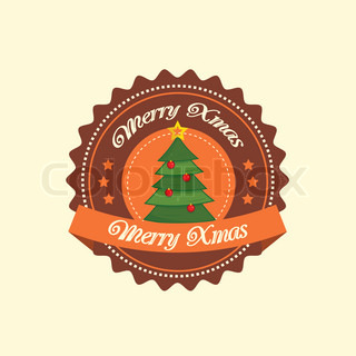 Christmas tree label in brown