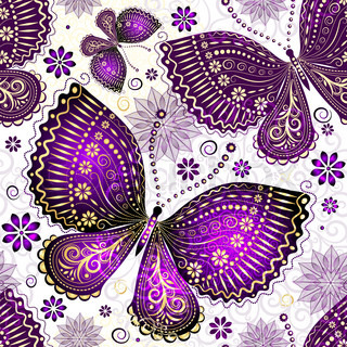 Seamless spring transparent pattern with violet-gold butterflies and flowers vector EPS 10