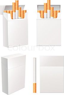 opened blank realistic cigarettes pack vector template stock