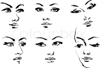 Line Drawing Female : Line woman vector illustration stock colourbox