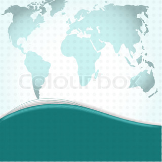 Image of a vector world map with a colorful blue background