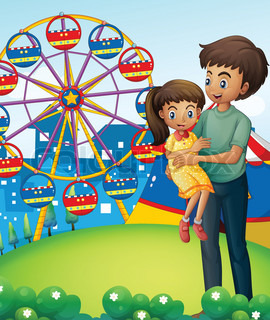 A father with his daughter at the carnival