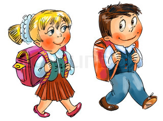 Boy and girl go to school Hand-drawn