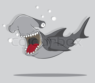 Vector illustration of Cute hammerhead shark cartoon ...