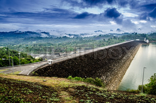 Road on Ratchaprapha Dam Surat Thani province,Thailand
