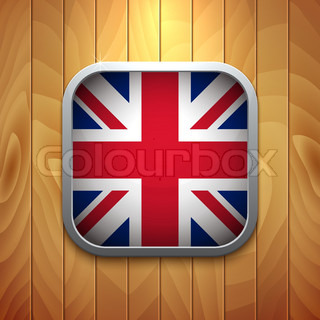 Rounded Square United Kingdom Flag Icon on Wood Texture