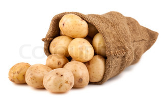 burlap sack with potato isolated on white background stock photo colourbox. Black Bedroom Furniture Sets. Home Design Ideas