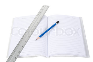 Pencil And Ruler On Notebook