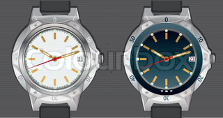 Vector illustration of classic analog men's Wrist Watches