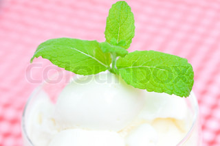 ice cream with mint in a glass bowl on plaid fabric