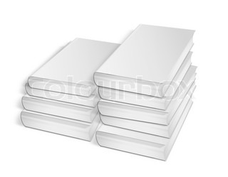 collection of various blank white books on white background