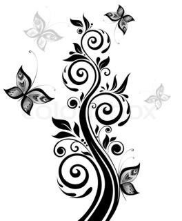 Floral sort træ Raster kopi